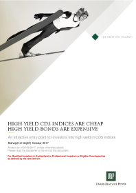 UBP - High yield cds indices are cheap high yield bonds are expensive