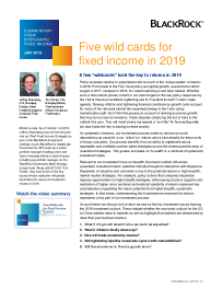 BlackRock - Five wild cards for fixed income in 2019